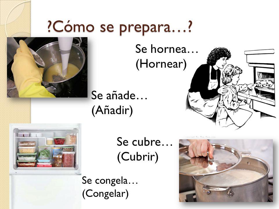 Cómo se prepara… Se hornea… (Hornear) Se añade… (Añadir) Se cubre…
