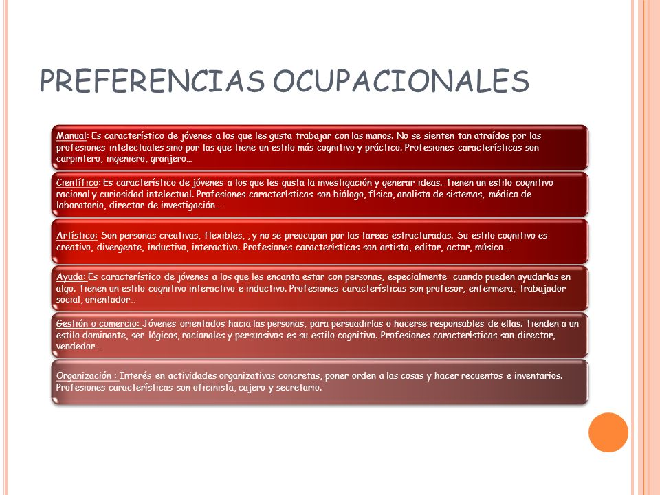 PREFERENCIAS OCUPACIONALES