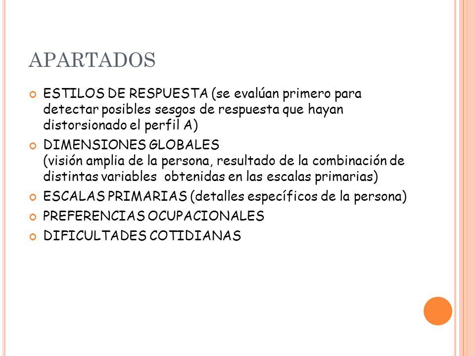 APARTADOS ESTILOS DE RESPUESTA (se evalúan primero para detectar posibles sesgos de respuesta que hayan distorsionado el perfil A)