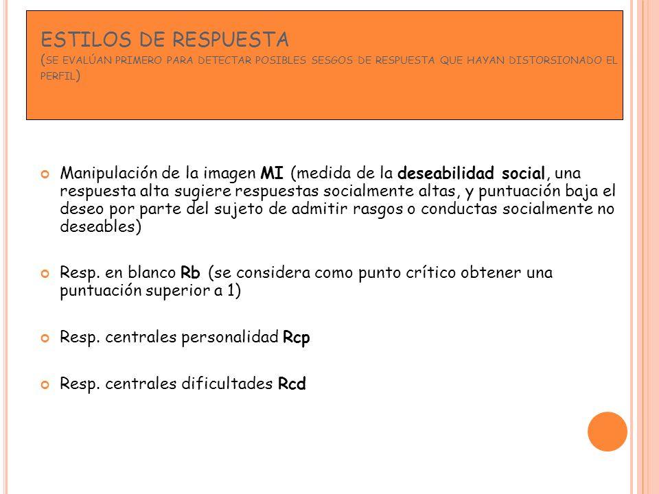 ESTILOS DE RESPUESTA (se evalúan primero para detectar posibles sesgos de respuesta que hayan distorsionado el perfil)