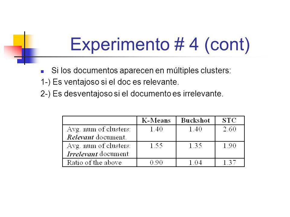 Experimento # 4 (cont) Si los documentos aparecen en múltiples clusters: 1-) Es ventajoso si el doc es relevante.