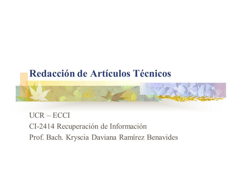 Redacción de Artículos Técnicos
