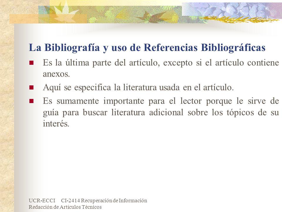 La Bibliografía y uso de Referencias Bibliográficas