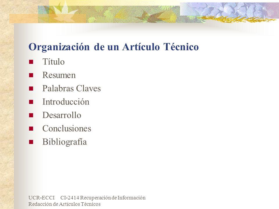 Organización de un Artículo Técnico
