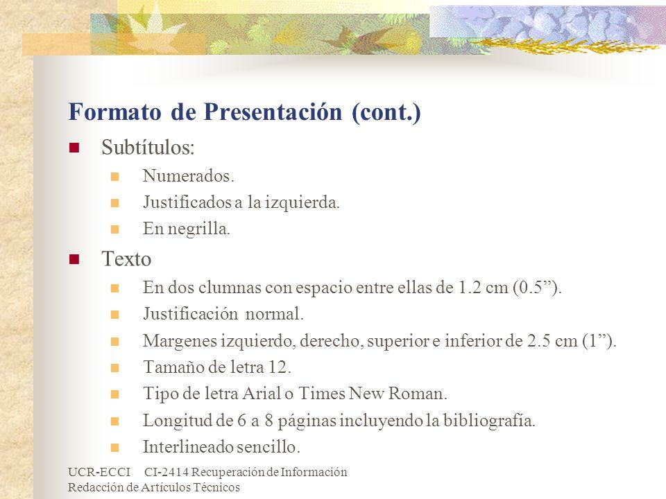 Formato de Presentación (cont.)