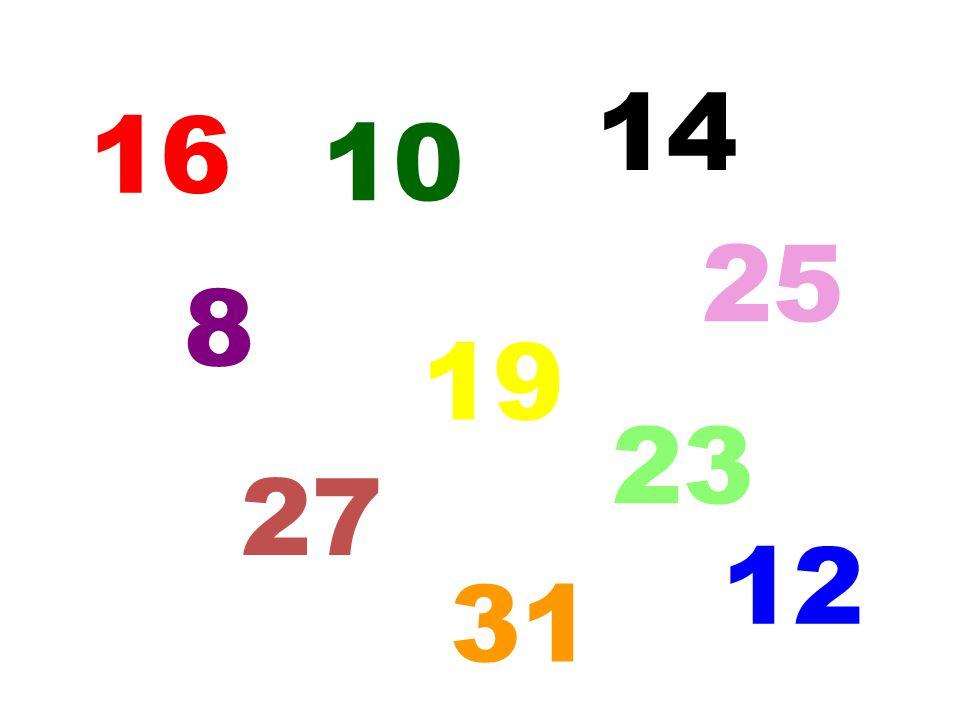 14 16 10 25 8 19 23 27 12 5 31