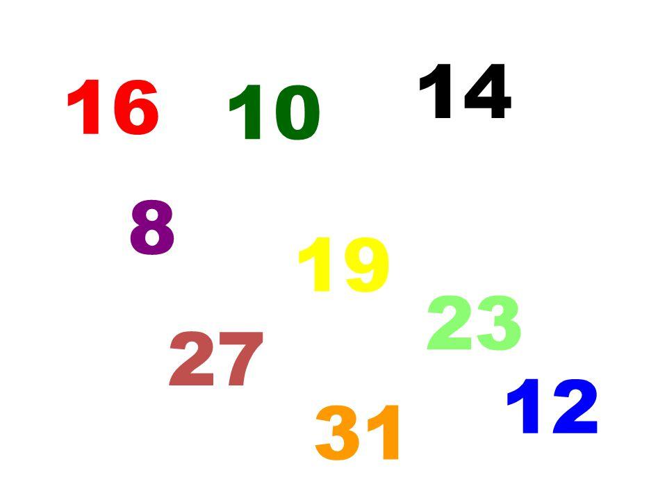 14 16 10 8 19 23 27 12 5 31