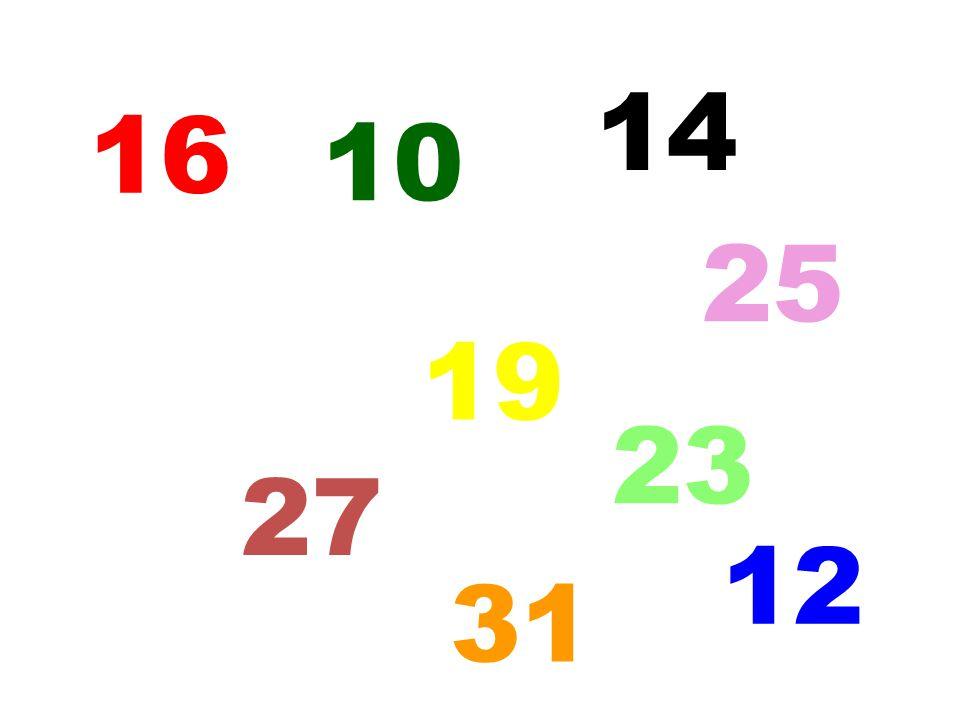 14 16 10 25 19 23 27 12 5 31
