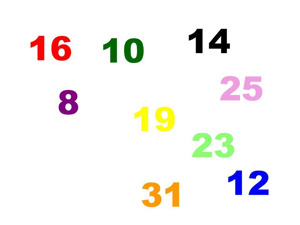 14 16 10 25 8 19 23 12 5 31