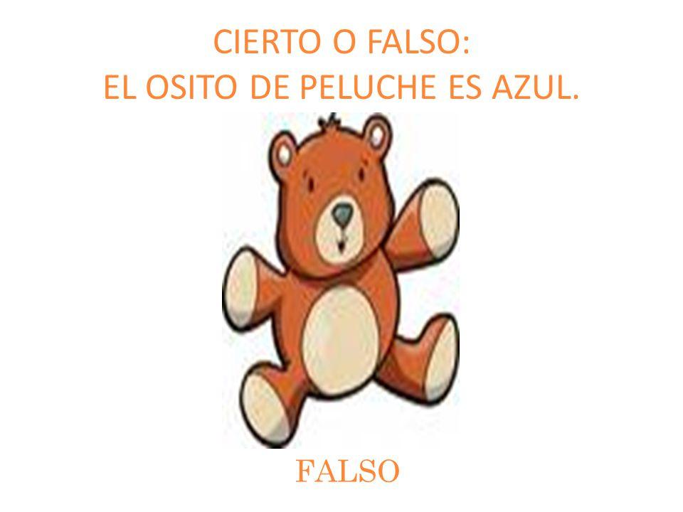 CIERTO O FALSO: EL OSITO DE PELUCHE ES AZUL.