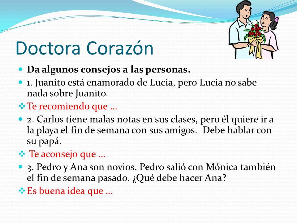 Doctora Corazón Da algunos consejos a las personas.
