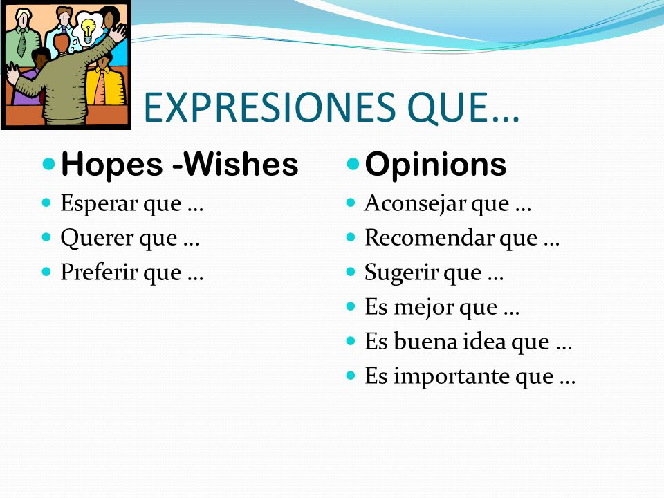 EXPRESIONES QUE… Hopes -Wishes Opinions Esperar que … Querer que …