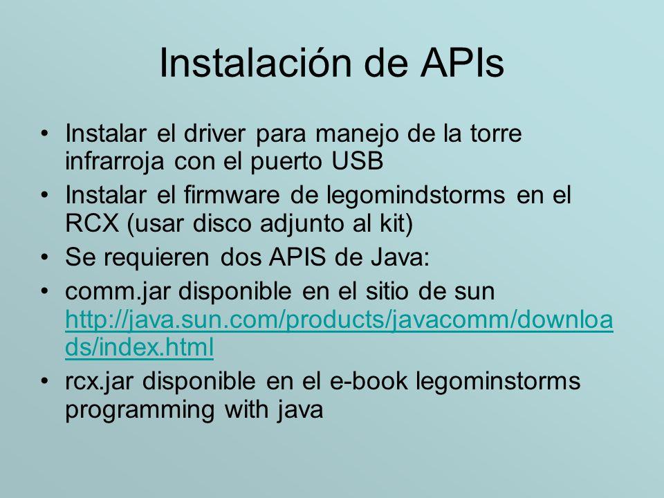 Instalación de APIs Instalar el driver para manejo de la torre infrarroja con el puerto USB.