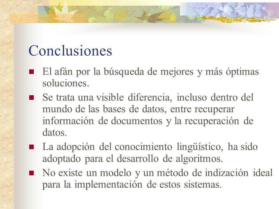 Conclusiones El afán por la búsqueda de mejores y más óptimas soluciones.