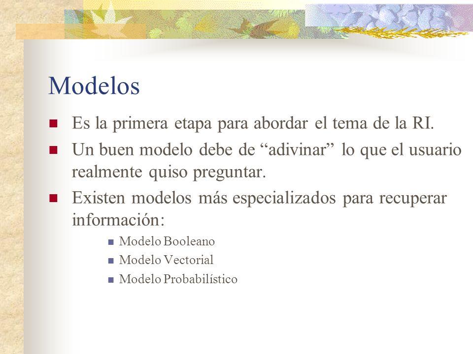 Modelos Es la primera etapa para abordar el tema de la RI.