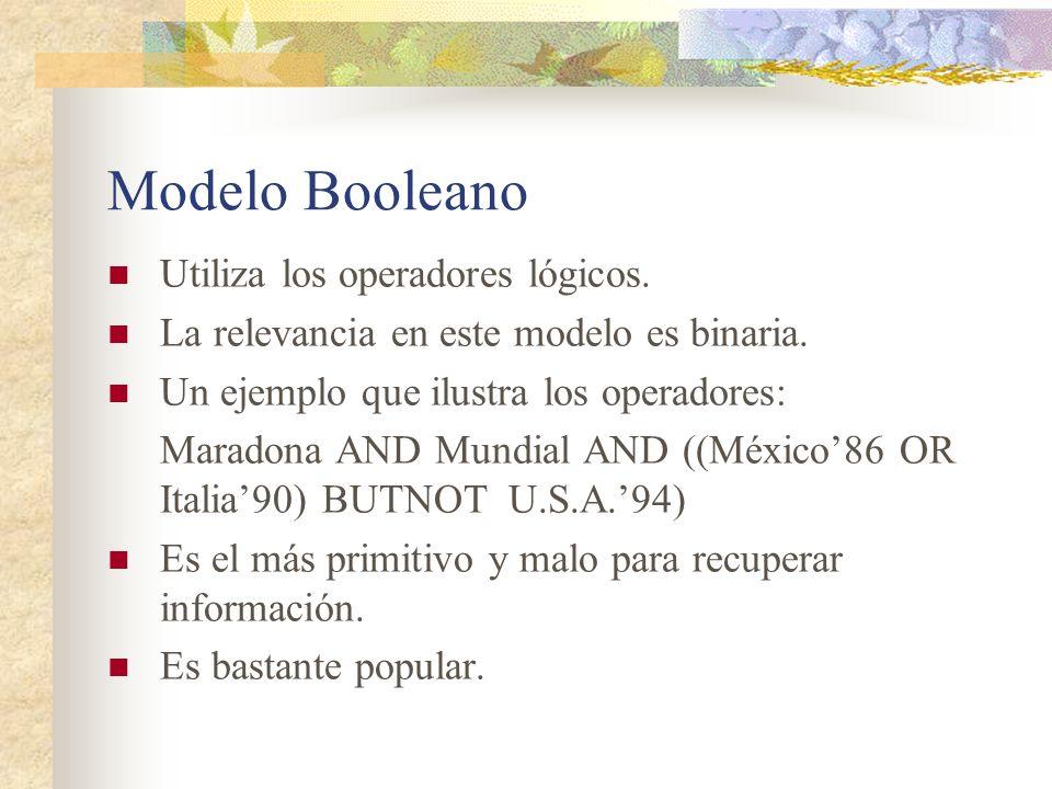 Modelo Booleano Utiliza los operadores lógicos.