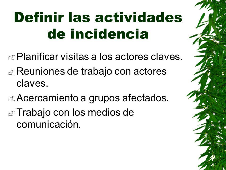 Definir las actividades de incidencia