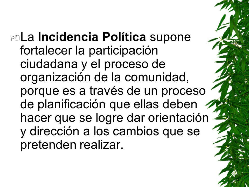La Incidencia Política supone fortalecer la participación ciudadana y el proceso de organización de la comunidad, porque es a través de un proceso de planificación que ellas deben hacer que se logre dar orientación y dirección a los cambios que se pretenden realizar.