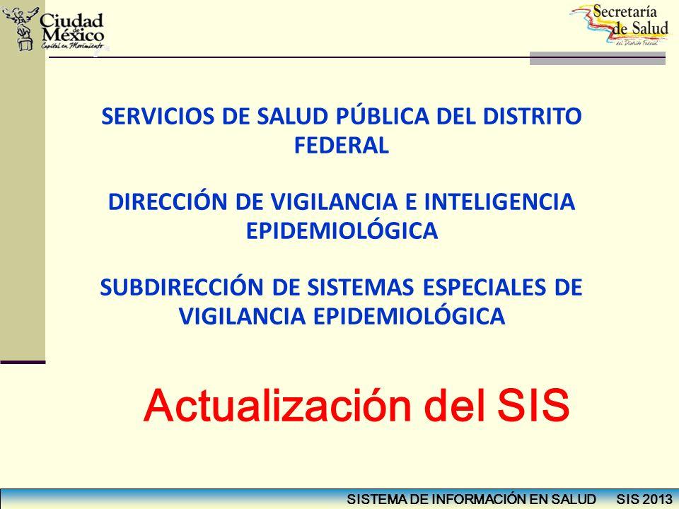 Actualización del SIS SERVICIOS DE SALUD PÚBLICA DEL DISTRITO FEDERAL