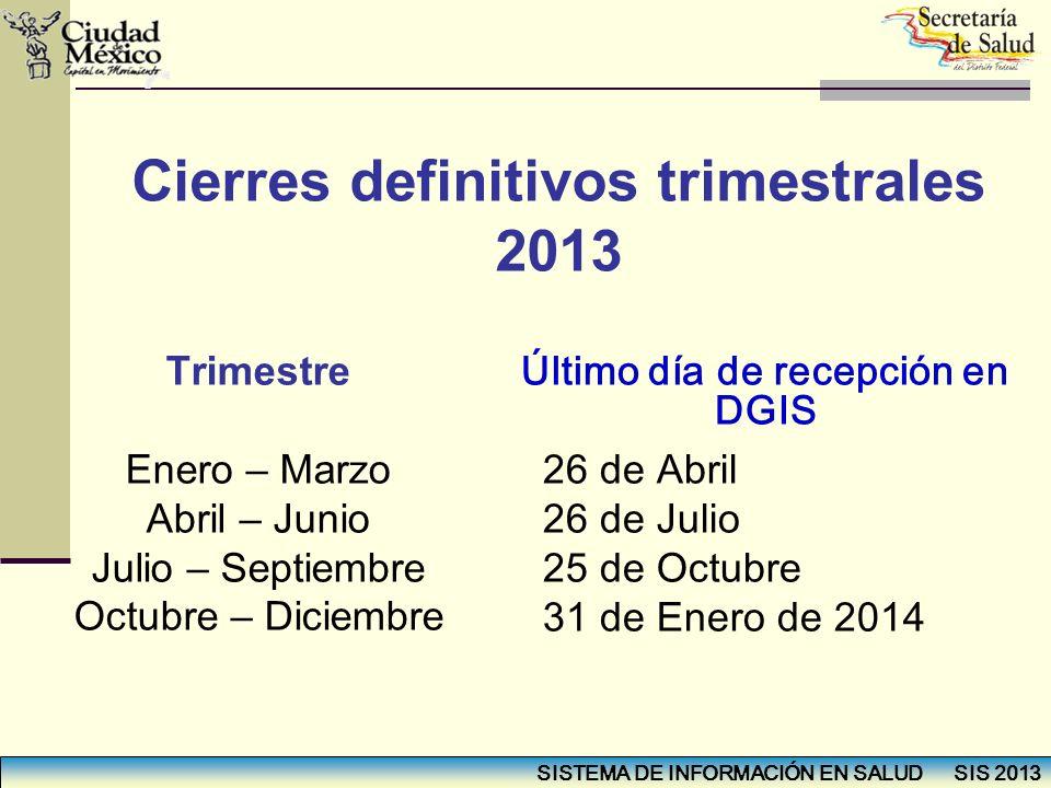 Cierres definitivos trimestrales 2013 Último día de recepción en DGIS