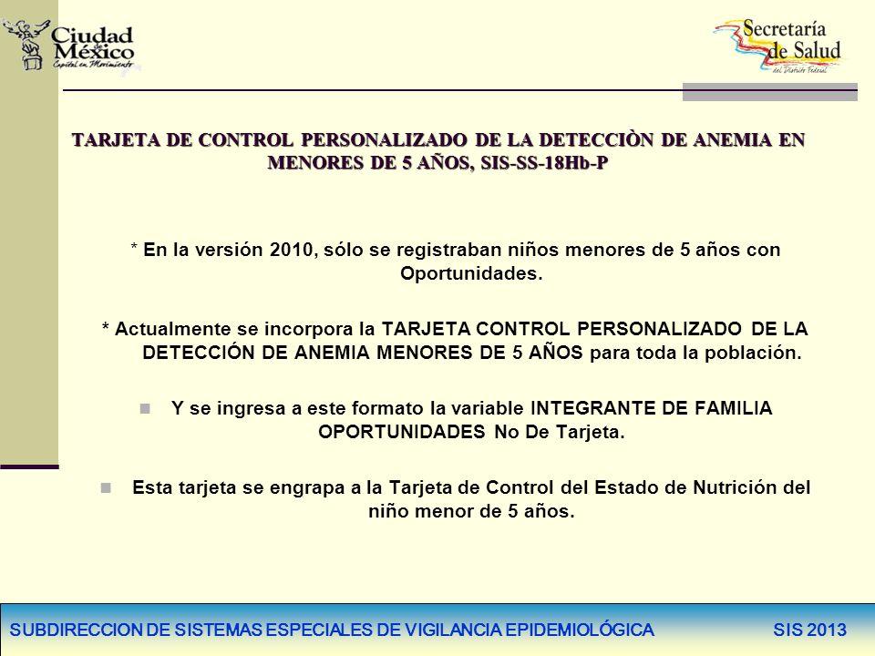 TARJETA DE CONTROL PERSONALIZADO DE LA DETECCIÒN DE ANEMIA EN MENORES DE 5 AÑOS, SIS-SS-18Hb-P