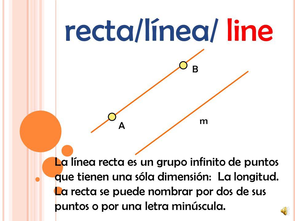 recta/línea/ line B. m. A. La línea recta es un grupo infinito de puntos que tienen una sóla dimensión: La longitud.