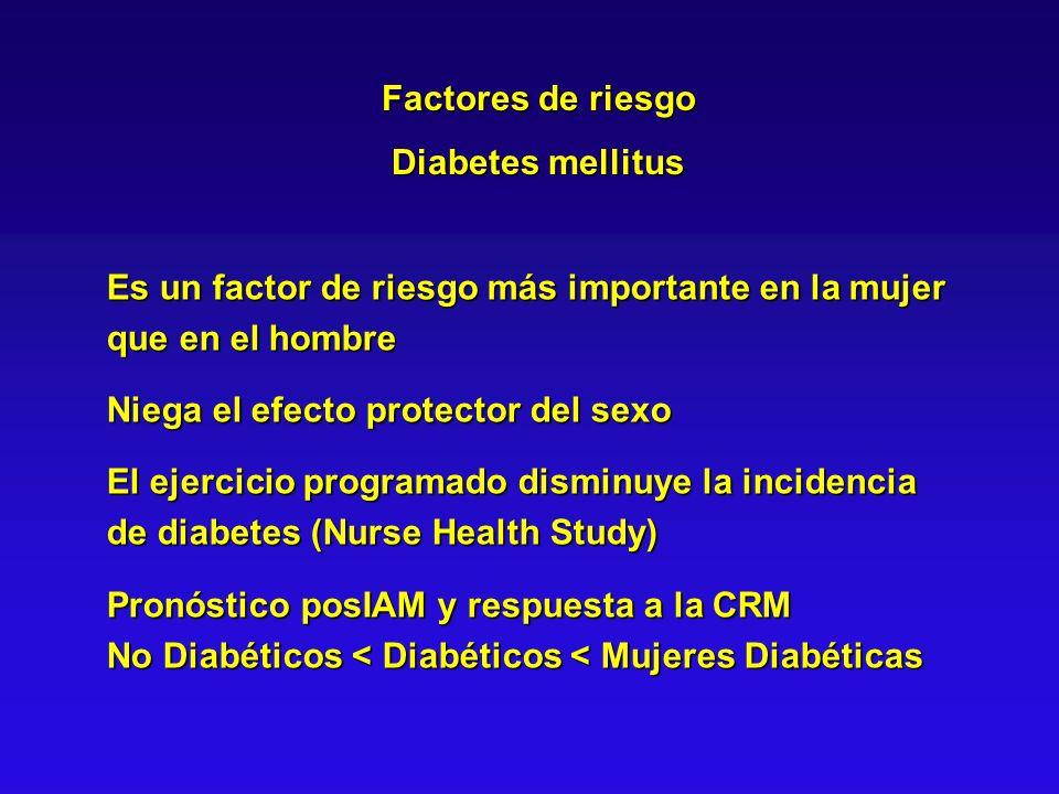 Factores de riesgo Diabetes mellitus. Es un factor de riesgo más importante en la mujer que en el hombre.