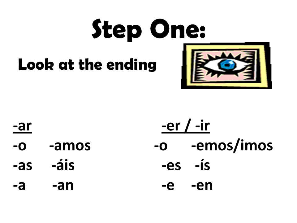 Step One: Look at the ending -ar -er / -ir -o -amos -o -emos/imos