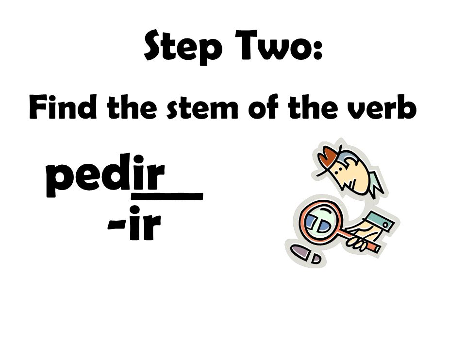 Step Two: Find the stem of the verb ped___ pedir -ir