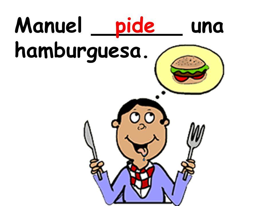Manuel _______ una hamburguesa.