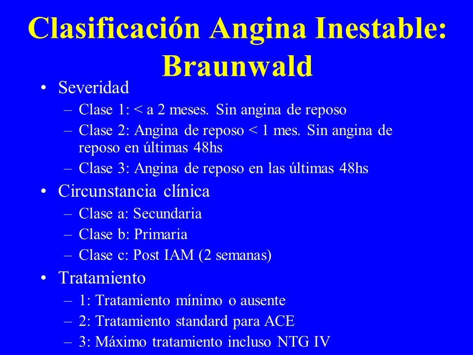 Clasificación Angina Inestable: Braunwald