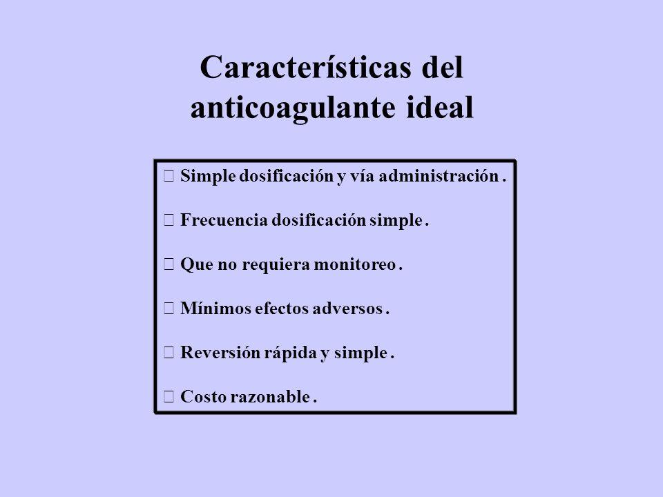 Características del anticoagulante ideal