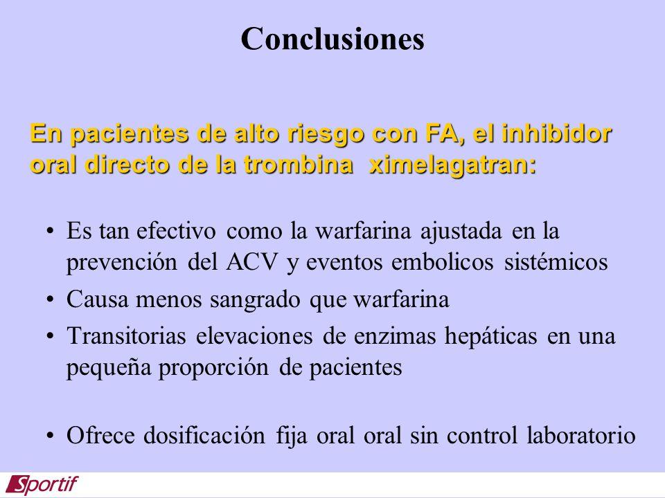 ConclusionesEn pacientes de alto riesgo con FA, el inhibidor oral directo de la trombina ximelagatran: