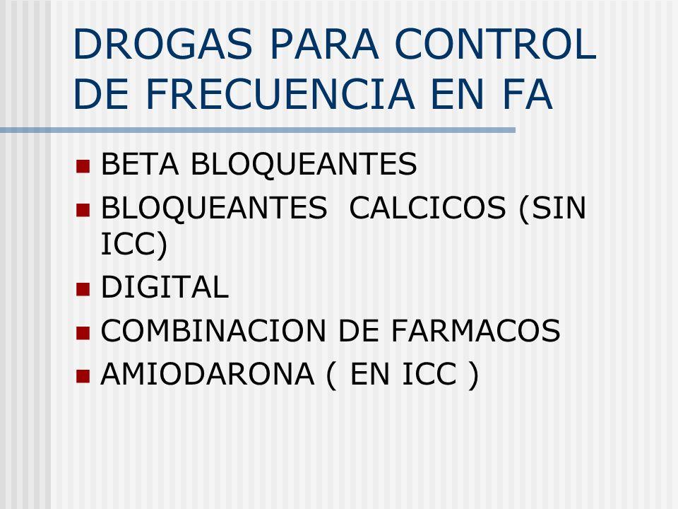 DROGAS PARA CONTROL DE FRECUENCIA EN FA