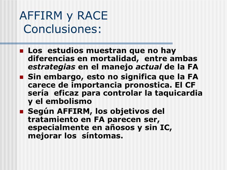 AFFIRM y RACE Conclusiones: