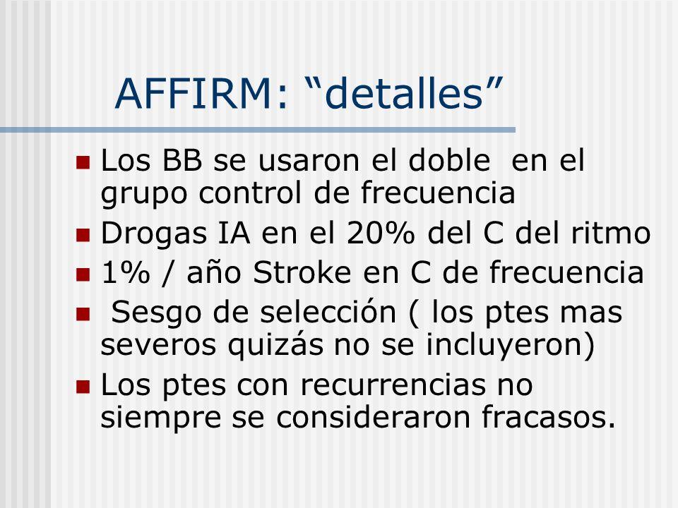 AFFIRM: detalles Los BB se usaron el doble en el grupo control de frecuencia. Drogas IA en el 20% del C del ritmo.