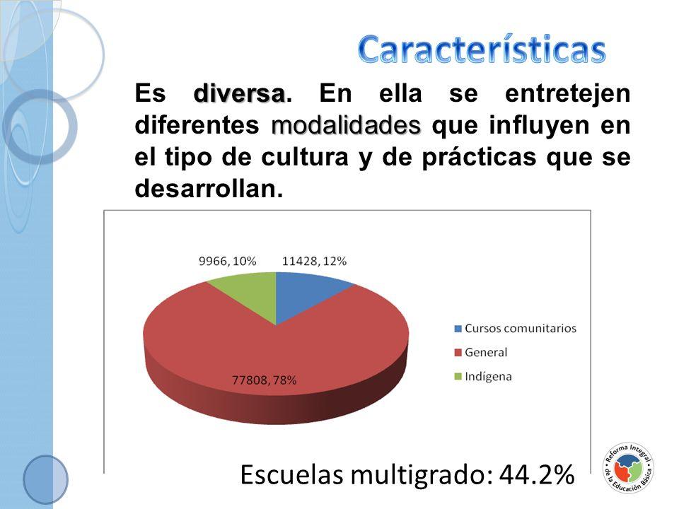 Características Escuelas multigrado: 44.2%