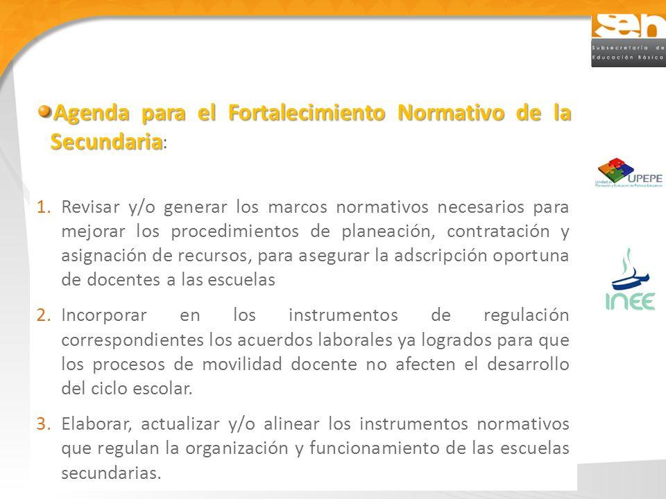 Agenda para el Fortalecimiento Normativo de la Secundaria: