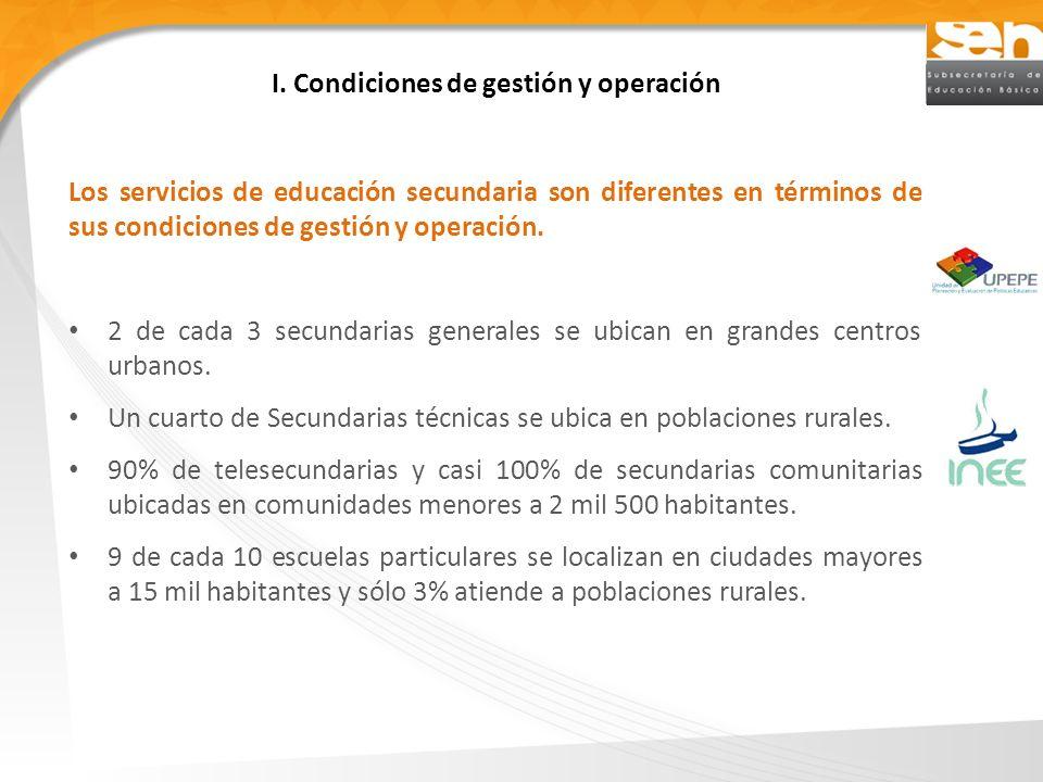 I. Condiciones de gestión y operación