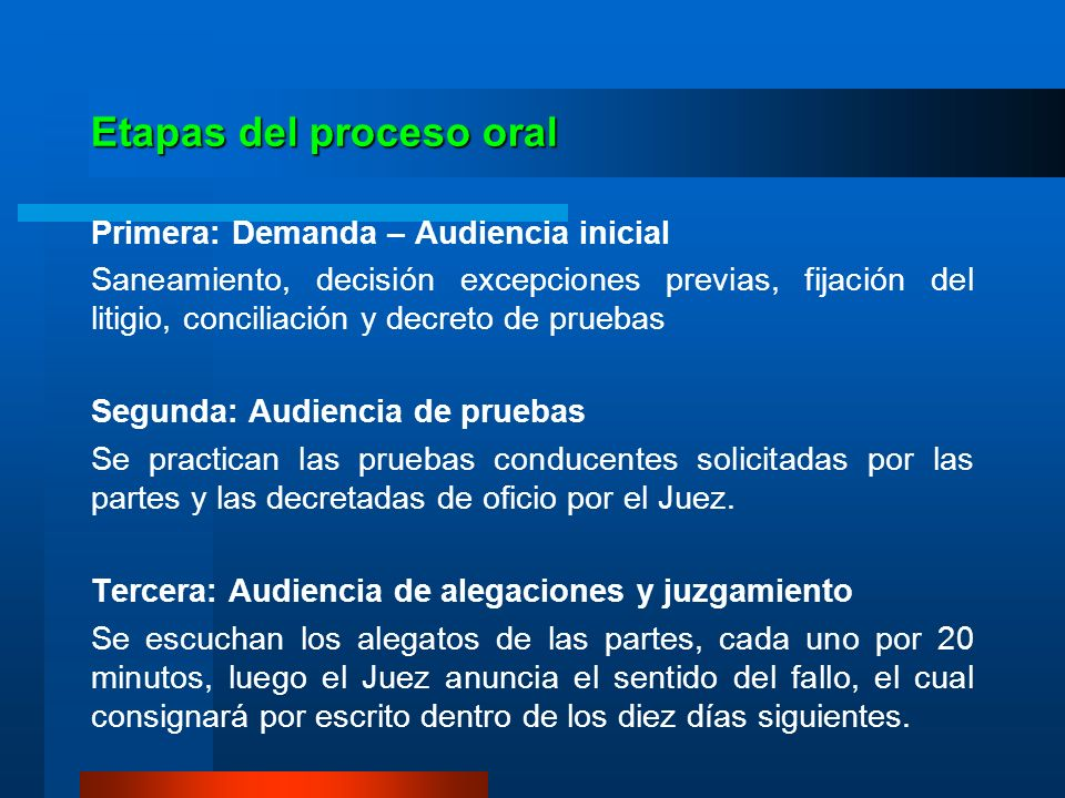 Etapas del proceso oral