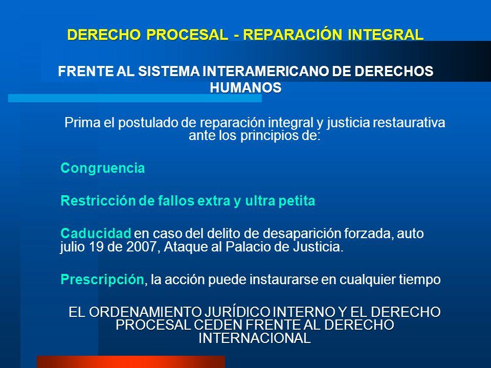 DERECHO PROCESAL - REPARACIÓN INTEGRAL FRENTE AL SISTEMA INTERAMERICANO DE DERECHOS HUMANOS