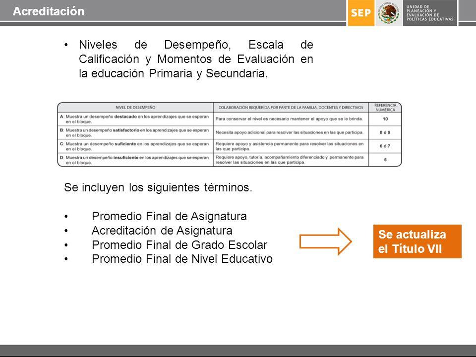 Acreditación Niveles de Desempeño, Escala de Calificación y Momentos de Evaluación en la educación Primaria y Secundaria.