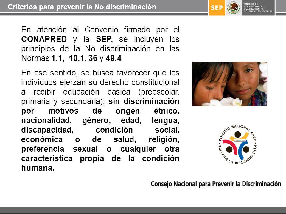 Criterios para prevenir la No discriminación