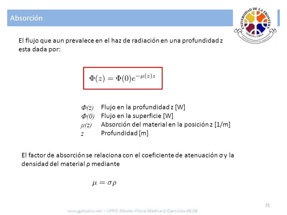 Absorción El flujo que aun prevalece en el haz de radiación en una profundidad z. esta dada por: Φ(z)