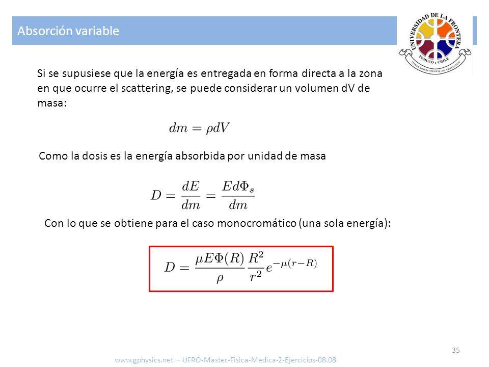 Absorción variable Si se supusiese que la energía es entregada en forma directa a la zona.