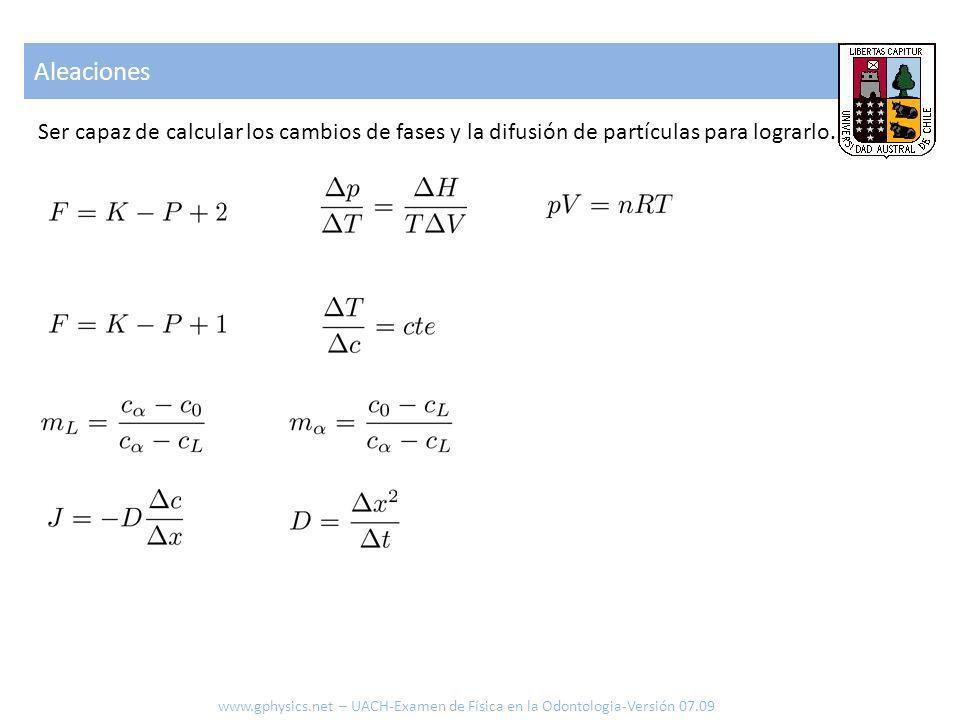 Aleaciones Ser capaz de calcular los cambios de fases y la difusión de partículas para lograrlo.