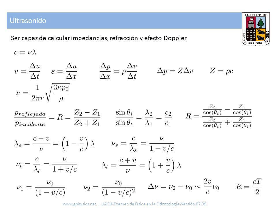 Ultrasonido Ser capaz de calcular impedancias, refracción y efecto Doppler.