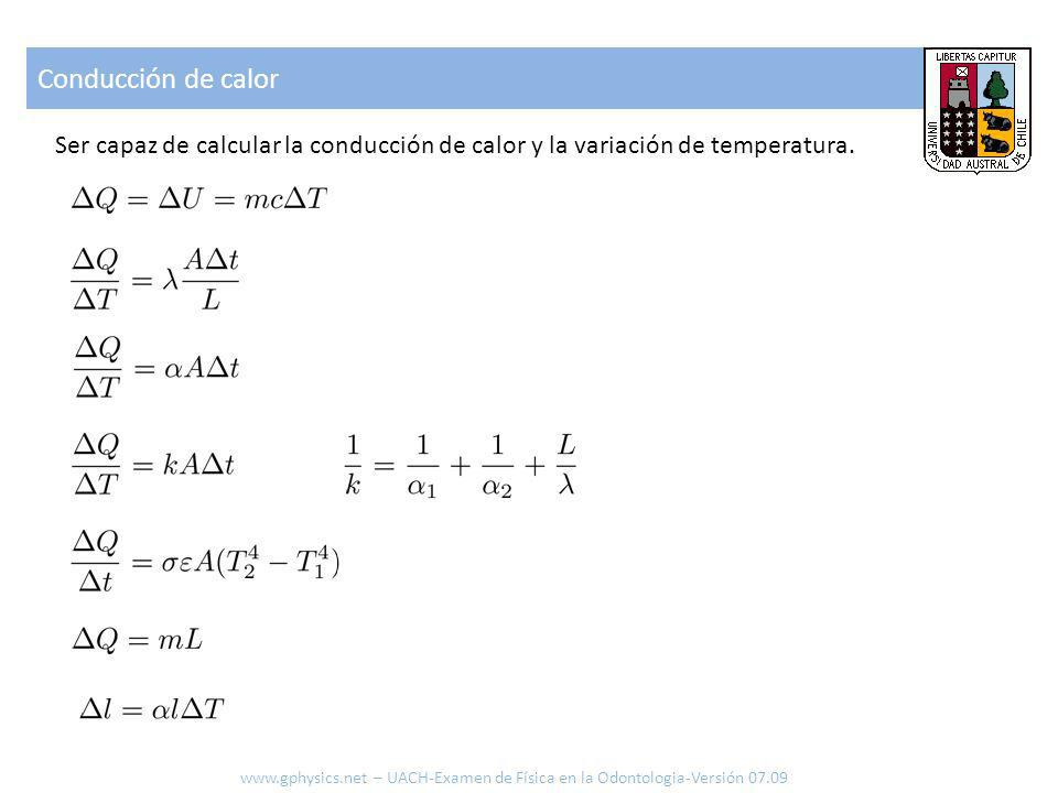 Conducción de calor Ser capaz de calcular la conducción de calor y la variación de temperatura.