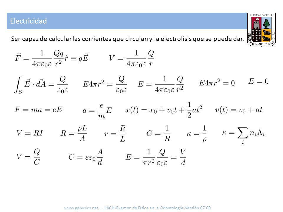 Electricidad Ser capaz de calcular las corrientes que circulan y la electrolisis que se puede dar.