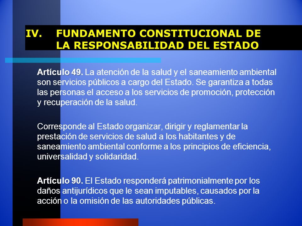 IV. FUNDAMENTO CONSTITUCIONAL DE LA RESPONSABILIDAD DEL ESTADO